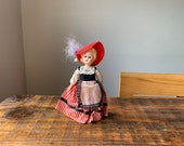 Vintage, Plastic, Souvenir, Doll, In, Red, White and Black, Victorian, Dress, Folk, With Hat, European, Costume, Figure, Collectible, Gift