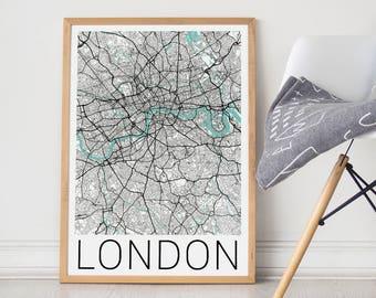 London Map Poster/London Print/London Map/London Poster/London Art/Travel Poster/Travel Art/City Map Art/London England/London/London Gift