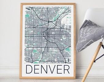 Denver Map Poster/Denver Map/Denver Map Print/Denver Poster/Denver Map Art/Denver Wall Art/Denver Co/Denver Gift/Denver City Map/Map Art