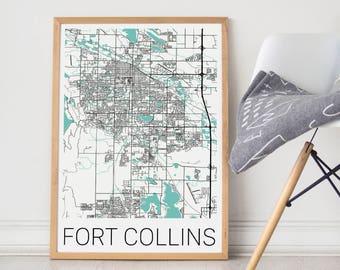 Fort Collins Map/Fort Collins/Fort Collins Print/Fort Collins Poster/Fort Collins Map Art/Ft Collins/Ft Collins Map/Ft Collins Map Art