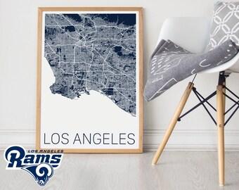 Los Angeles Rams / Los Angeles Rams Poster / LA Rams Poster / LA Rams Print / Los Angeles Map /LA Rams Memorabilia / Los Angeles /Rams