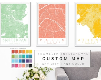 Custom City Map Art Framed, Canvas or Print - Canvas City Map Wall Art by Wayfinder Creative