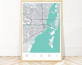 Map Miami Florida.Florida Miami Etsy