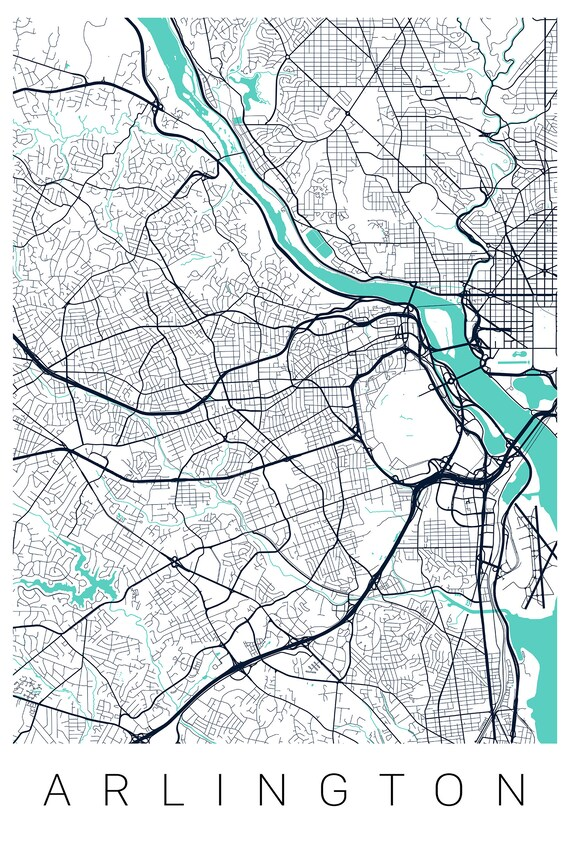 Arlington Va Map Print Of Arlington Map Art Arlington Va Print Etsy
