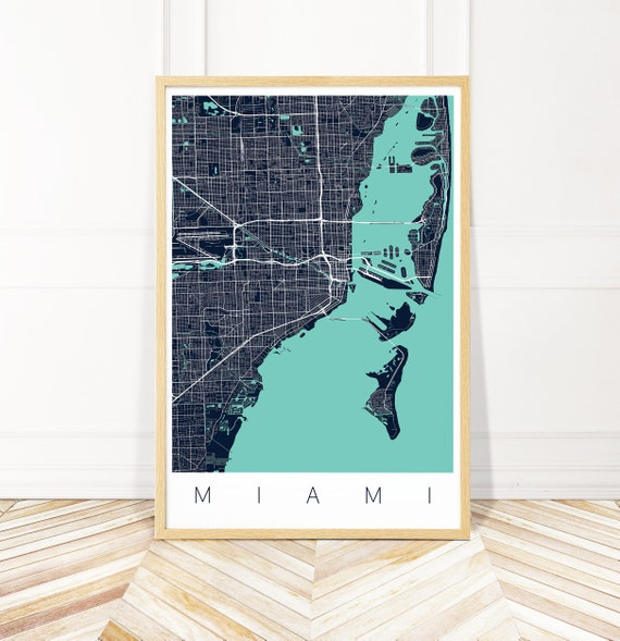 Map Of Miami Florida.Miami Map Print Map Of Miami Florida Etsy