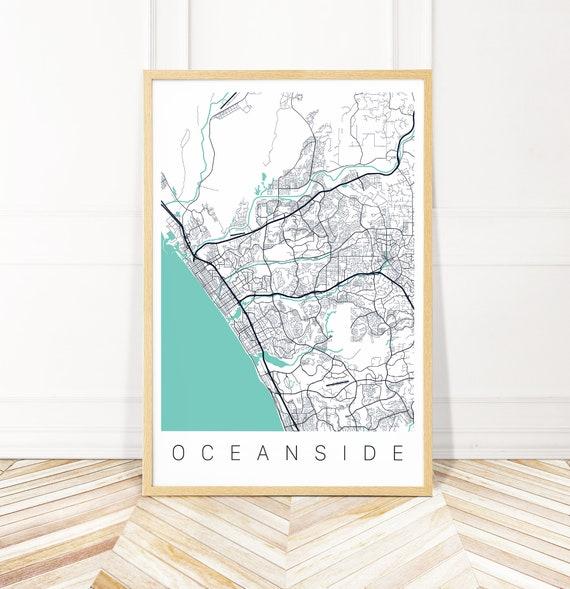 Oceanside Map Art Print - Map of Oceanside California - City Art - Framed  Unframed or Canvas - Wayfinder Creative