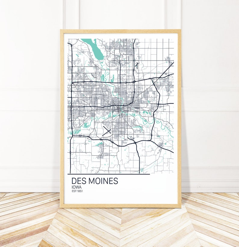 Des Moines Iowa Map Art Print - Map of Des Moines Iowa - City Art -  Wayfinder Creative