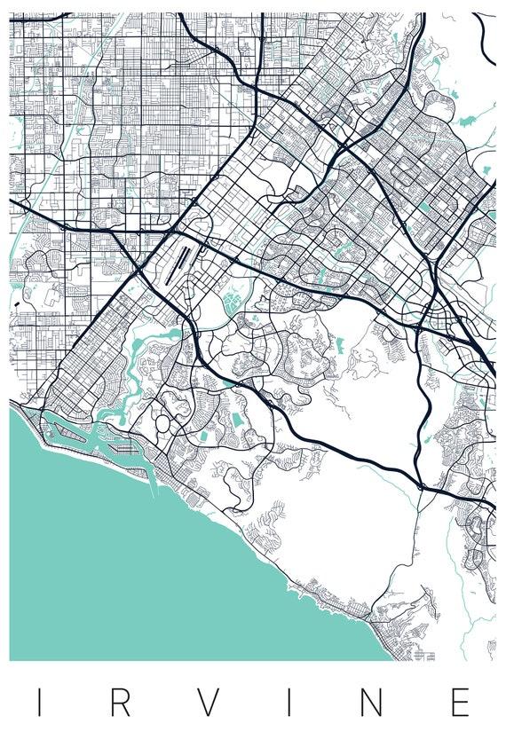 Irvine California Map Art Print - Map of Irvine CA - City Art - Wayfinder  Creative