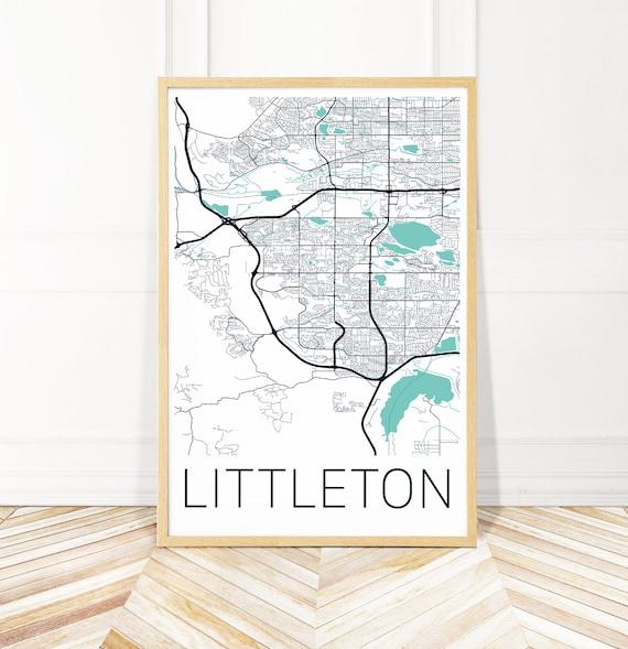 Littleton Colorado Map Art Print - Map Art - City Print - Wayfinder Creative