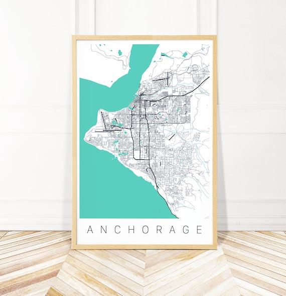 Anchorage Map Art Map of Anchorage AK   Etsy