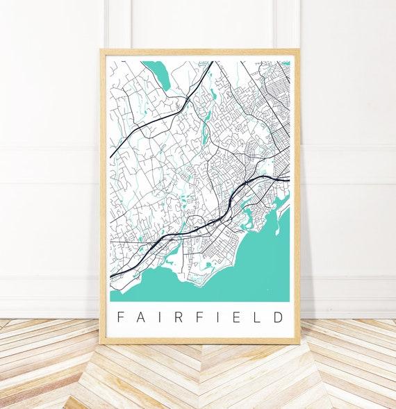 Fairfield Map Print of Fairfield CT | Etsy