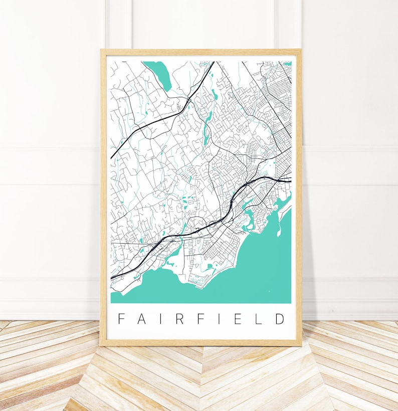 Fairfield Map Print of Fairfield CT | Etsy