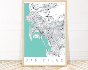 San Diego Map Art Print - Map of San Diego California - City Art - Framed Unframed or Canvas - Wayfinder Creative