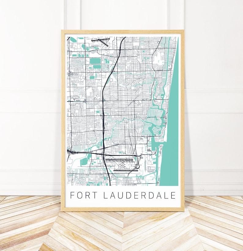 Fort Lauderdale Map Florida.Fort Lauderdale Map Art Print Map Of Fort Lauderdale Florida City Art Wayfinder Creative