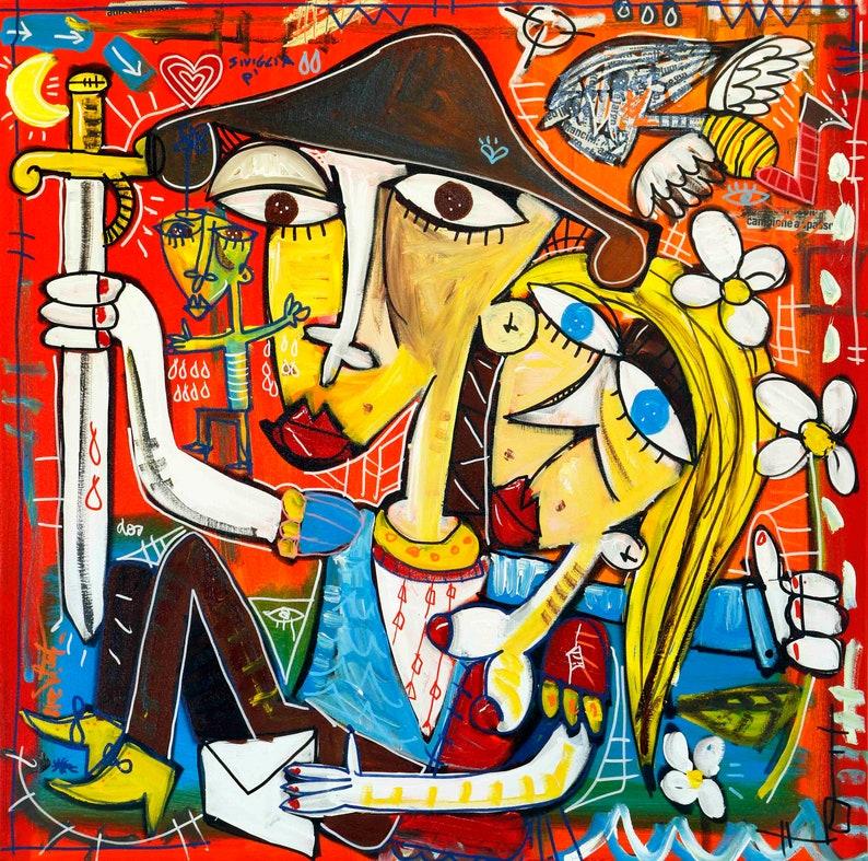 Quadri moderni dipinti colorati e romantici grande | Etsy