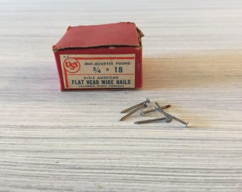 Vintage Nails, Flat Head Wire Nails, Cobbler Nails, Shoe Heel Nails, Tacks, Vintage Hardware, Nails