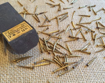 Brass Plated Cobbler Nails, Brass Tacks, Brass Nails, Vintage Nails, Brass Plated Hardware, Shoemaking Supply