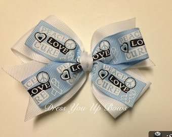 """4"""" Peace Love Cure light blue white grosgrain ribbon cancer survivor hair bow clip pinwheel stacked baby toddler teen adult relay for life"""