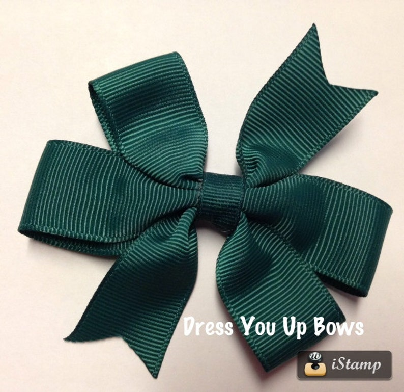 3.5 dark green solid hair bow clip