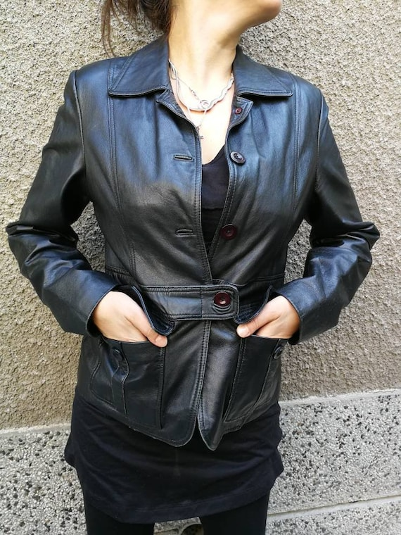 Leather jacket women black, Leather jacket black,