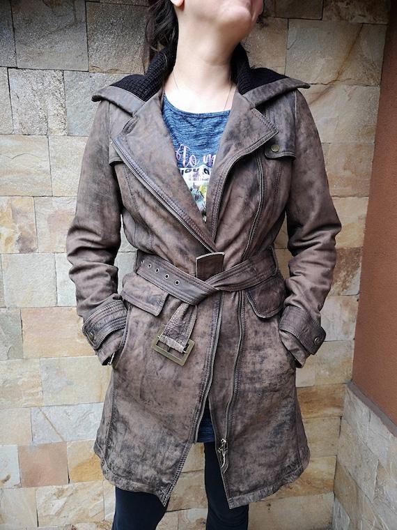 Long Leather jacket women brown, Leather jacket b… - image 2