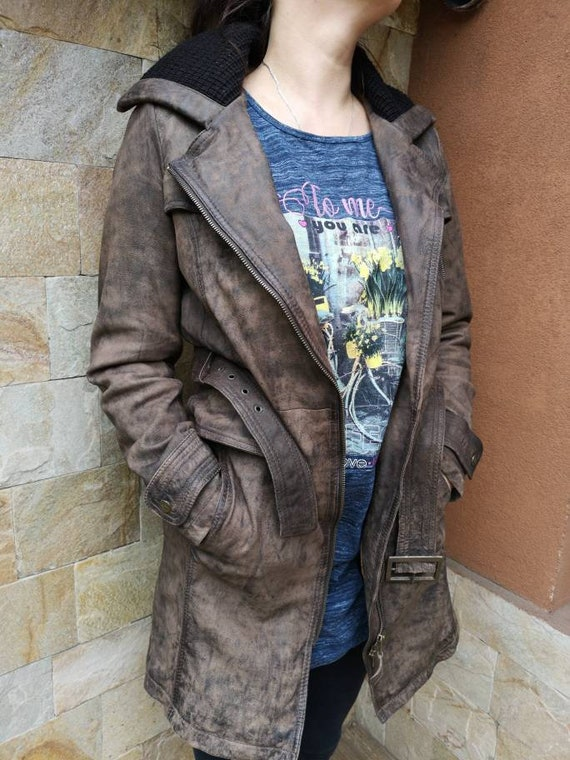 Long Leather jacket women brown, Leather jacket b… - image 3