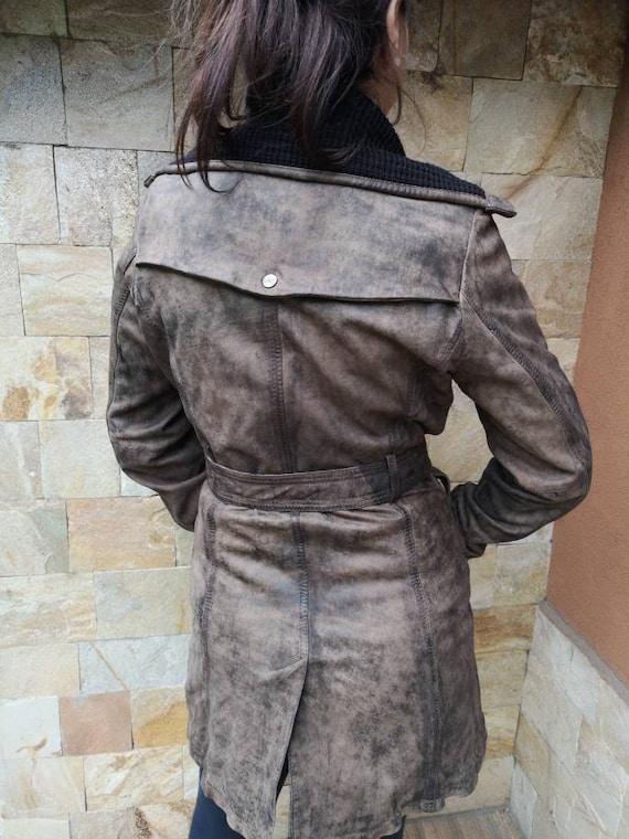 Long Leather jacket women brown, Leather jacket b… - image 10