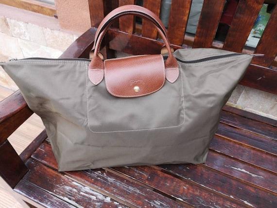 Vintage LONGCHAMP Le Pliage bag type Bag L, Longchamp Paris AUTHENTIC bag, Grean canvas bag, Grean Longchamp bag, Le Pliage bag,