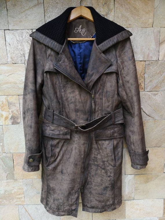 Long Leather jacket women brown, Leather jacket b… - image 5