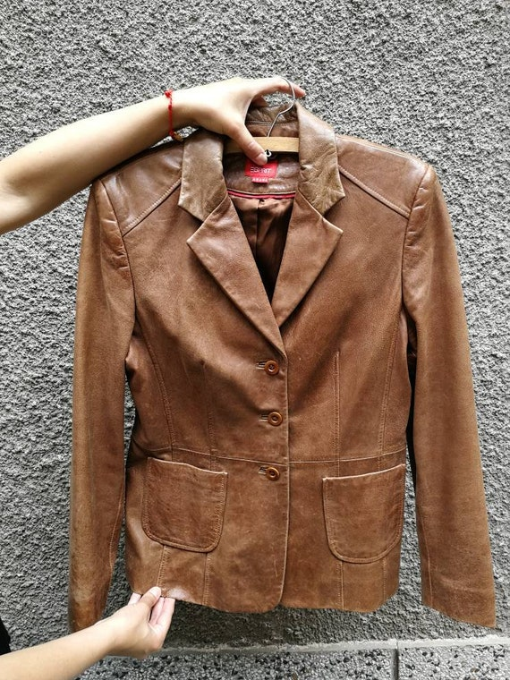 Leather jacket women tan leather, Leather jacket b