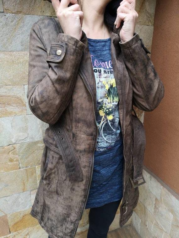 Long Leather jacket women brown, Leather jacket b… - image 9