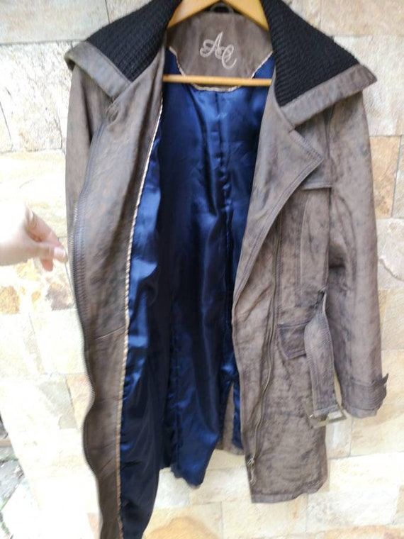 Long Leather jacket women brown, Leather jacket b… - image 6
