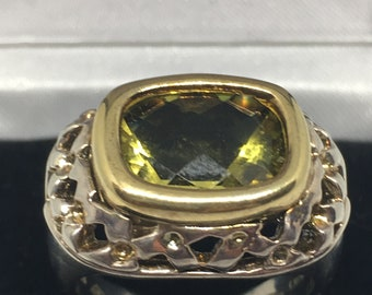 925 Silver Ring with Large Green Stone