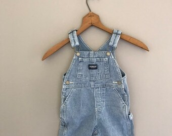 efa1ee887e54 Size 6-9 Months Vintage Blue and White Osh Kosh One Denim Overalls