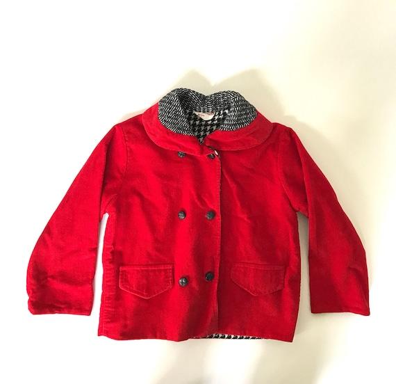 640625cdf094 Vintage Kids Red Corduroy Coat Size 3t 4t