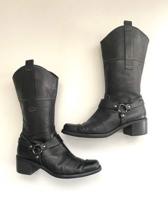 Women's Size 9 Black Leather Boots, Chunky Heel Sq