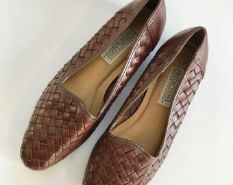 Women's Size 7.5 Brown Woven Leather Ballet Flats, Casual Summer Shoes