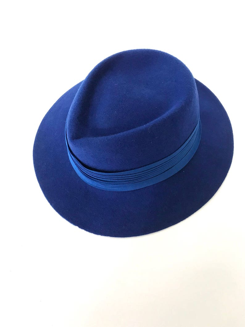 001e210bde8 Vintage Blue Wool Dress Hat
