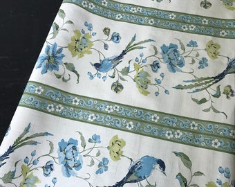 Vintage blue and green floral/bird wallpaper