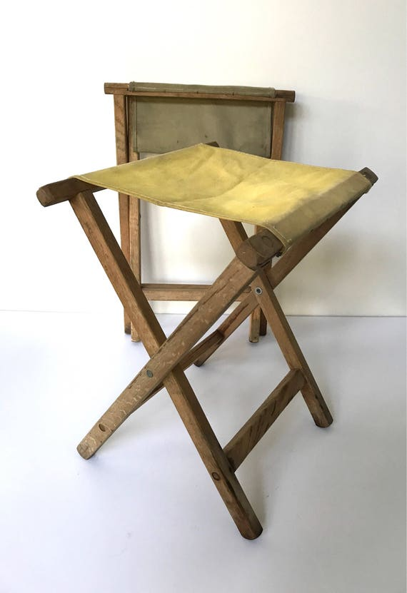 Phenomenal Vintage Wooden Camp Stool Pick One Bralicious Painted Fabric Chair Ideas Braliciousco