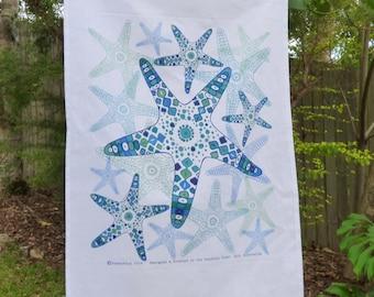 Starfish Linen/Cotton Tea Towel, Kitchen Tea Towel, Sea Life, Coastal, Ocean, Marine Life