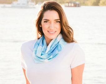 Blue scarf, printed scarf, infinity scarf, unique design, scarf, women's scarf, chiffon scarf, marine life