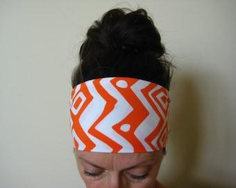 Yoga headband women's sport band orange and white Aztec