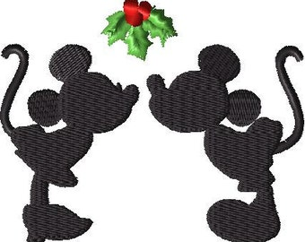 Mickey and Minnie Kissing Under Mistletoe Disney Christmas EMBROIDERY DESIGN