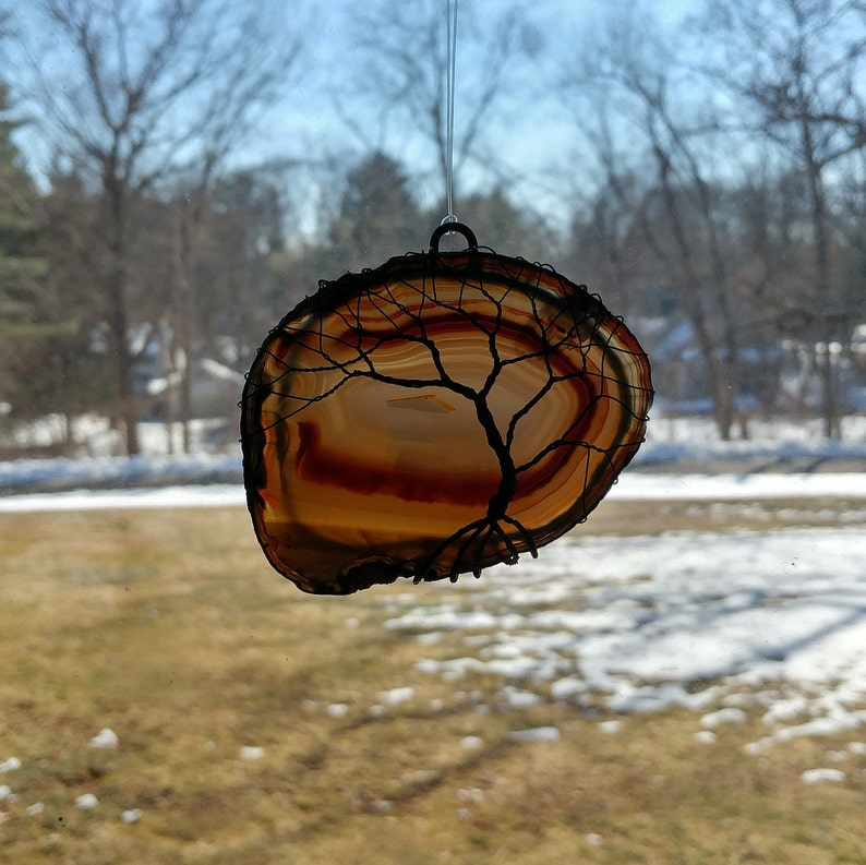 100/% recycled copper Brazilian agate with tree of life suncatcher