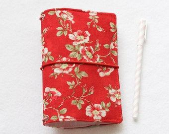 Flowers Traveler's notebook cover Pocket size dori Fabric fauxdori flowers Fabric cover midori style cover