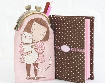 Gift for her fabric cover journal with pouch Girl with cat pink paper notebook cute gift for girl Pink Sketchbook