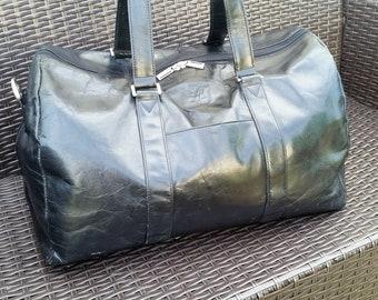 eb7fcc52e0 Black leather weekender holdall