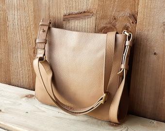 bdfc5a494 Fossil cross body messenger bag, Vintage light brown leather satchel  messenger purse
