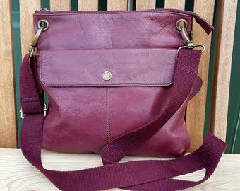 863aed495a8 Fat Face purple leather cross body messenger bag, Satchel purse
